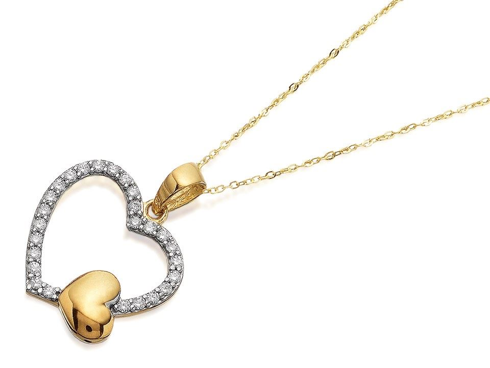 Details about F.Hinds 9ct Gold Cubic Zirconia Heart Necklace Chain Love  Jewellery Womens ecbb7334b