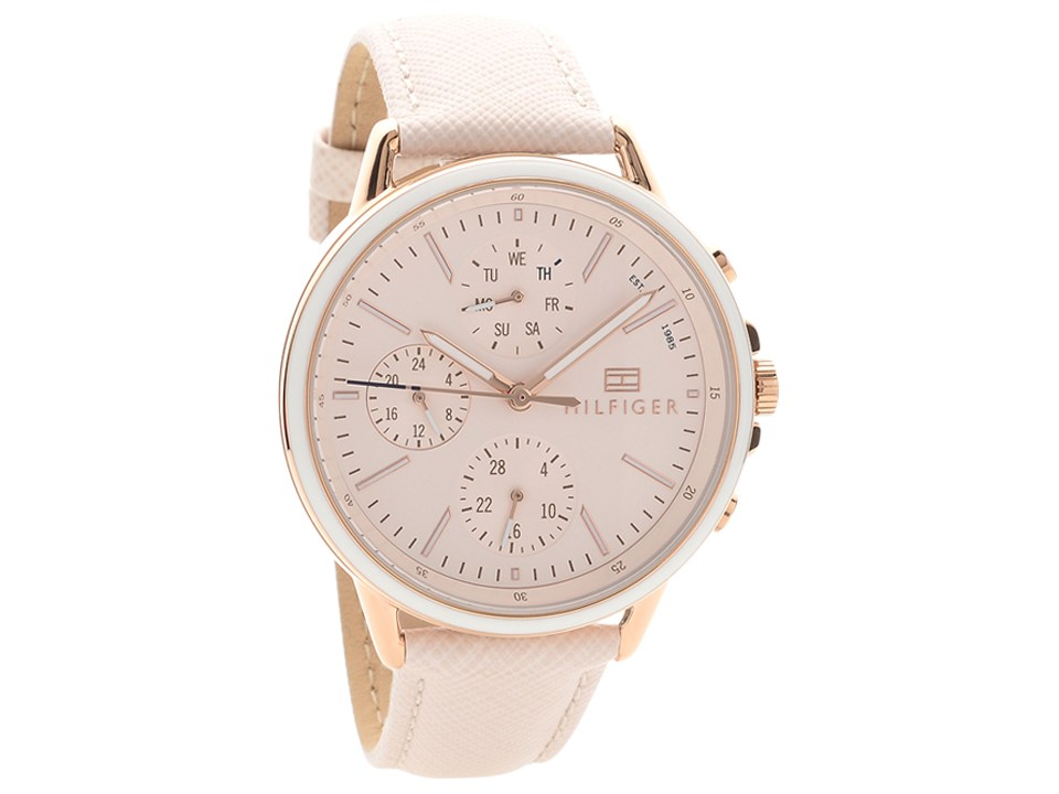 0a1cd290d Tommy Hilfiger 1781789 Carly Rose Gold Plated Cream Leather Strap Watch  Quartz