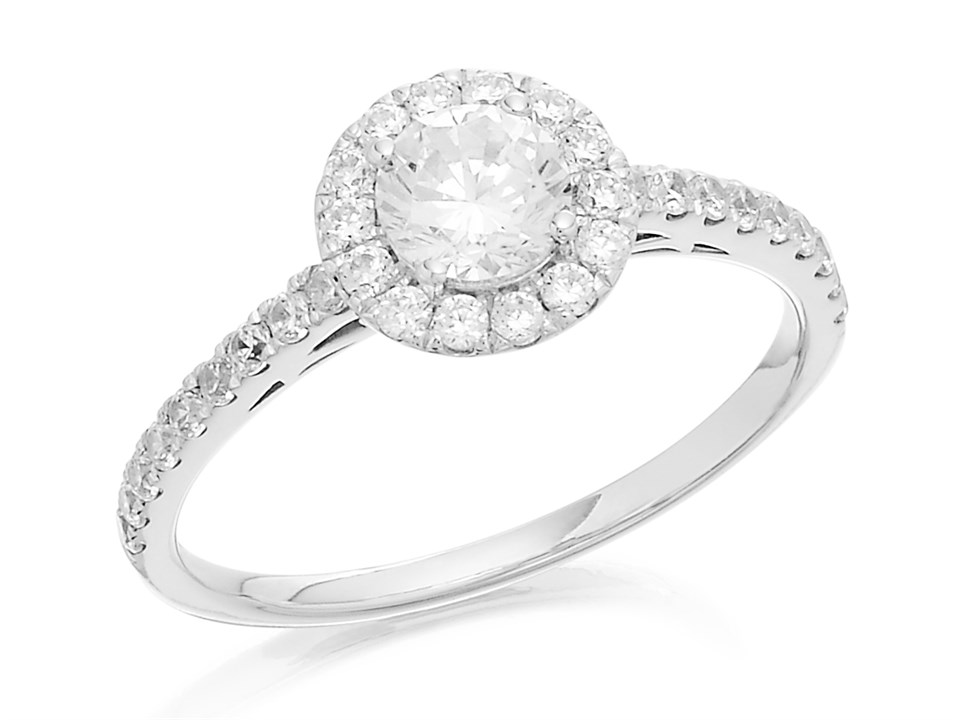 9df8ecdf7 F.Hinds Womens Jewellery 9ct White Gold Cubic Zirconia Halo Cluster Ring